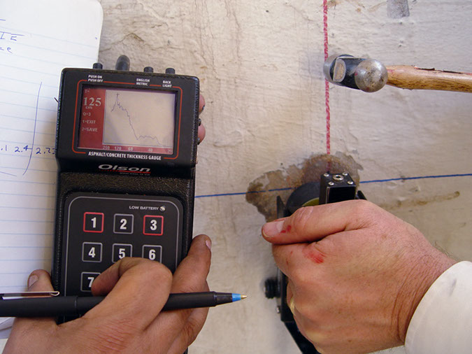 Concrete repair bonding and thickness test